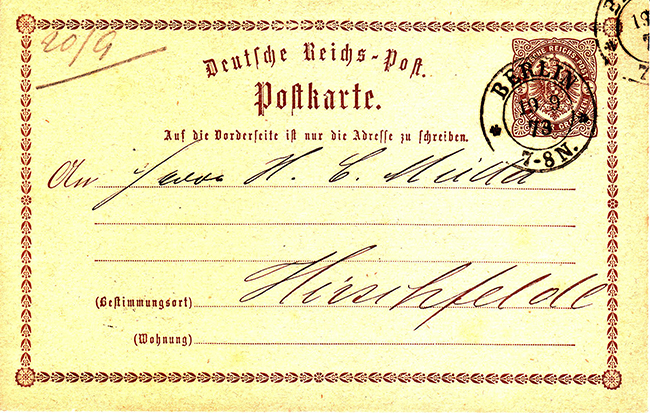Почтовая карточка - Postkarte - 1873