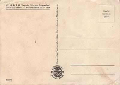 Обратная сторона открытки. Paul Isenfels_Kurische Nehrung