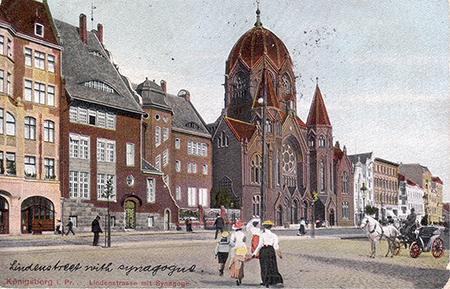 Koenigsberg_Lindenstrasse mit Sinagoge_1910