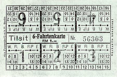 6-fahrtenkarte Tilsit Strassenbahn