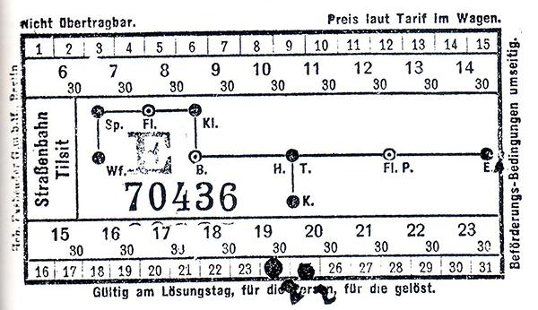 Tilsiter Strassenbahn Fahrplan