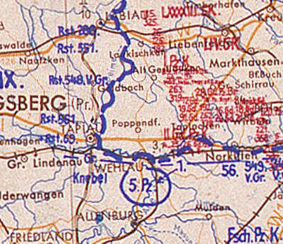 Битва за Велау Operarion map_Wehlau 22-01-1945