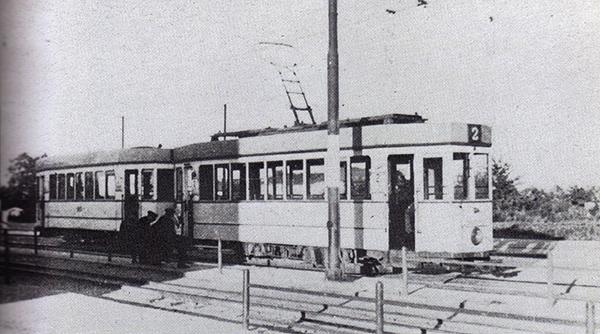 Кенигсбергский трамвай маршрут 2 на конечной остановке в Девау 1937 г