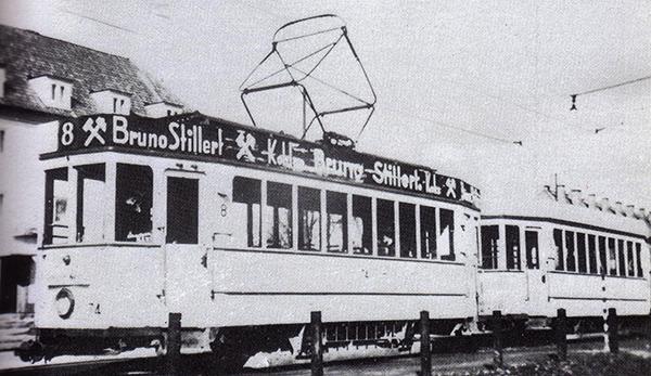 Кенигсбергский трамвай маршрут 8 на конечной остановке возле крематория 1936