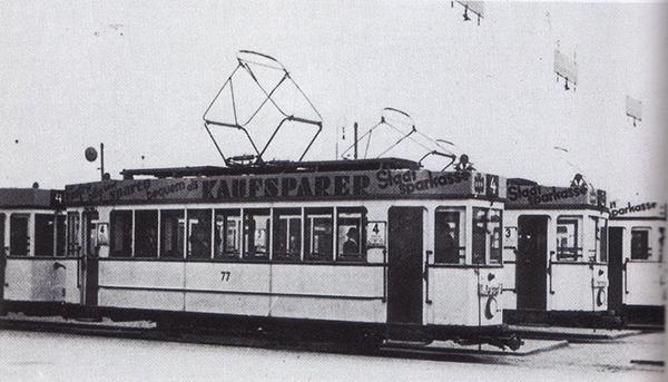Кенигсбергский трамвай моторный вагон 77 маршрута 4
