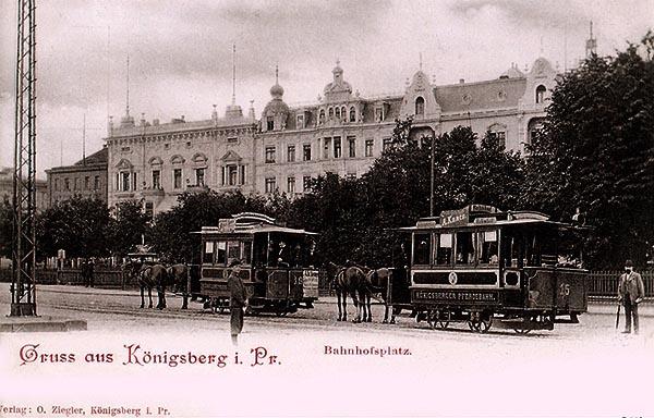 Koenigsberg Bahnhofsplatz Pferdebahn