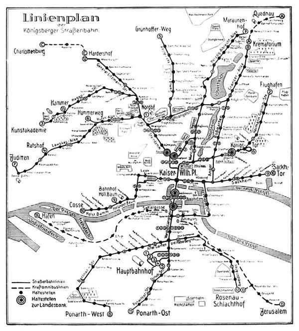 Koenigsberg Strassenbahn Linienplan