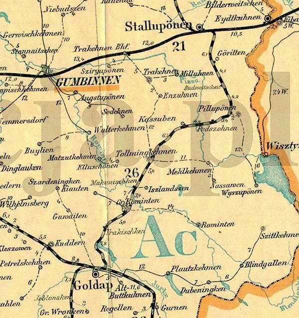Железные дороги Роминтской пущи map_Eisenbahn