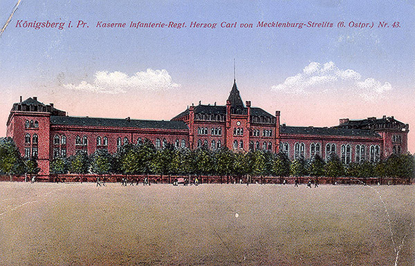 Koenigsberg Kaserne Inf-Reg Nr 43 6 Ostpr. 1917
