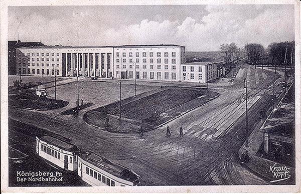 Koenigsberg Nordbahhof mit Strassenbahn 1930