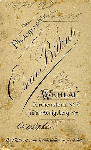 Oscar Bittrich Wehlau revers