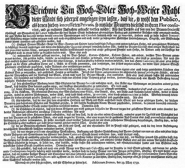 Brauerstatuten Bremen 1739