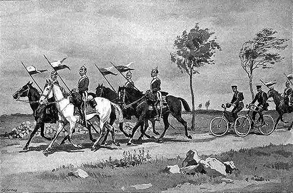 1894 german cycling corps with cavalry