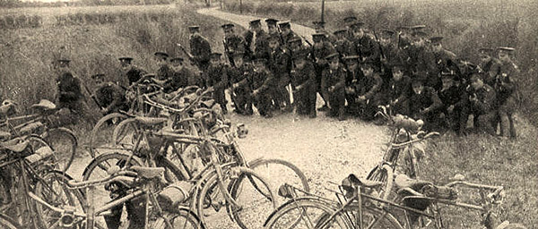 Bicycle in barricade 1915