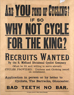 British_Army_cyclists_recruiting_poster_WWI