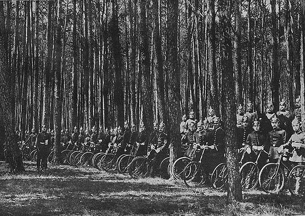 German cycling corps in Ardennes forest 1914