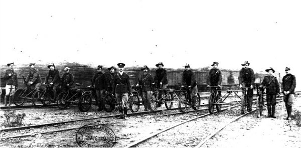 Railway patrol cycles in the Cape Town rail yards