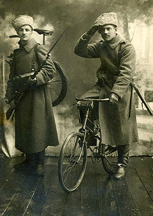 Russian Cyclists with Peugeot