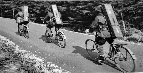 Three Swedish bicycle infanterists armed with m-45 SMGs and Bantam anti-tank missiles