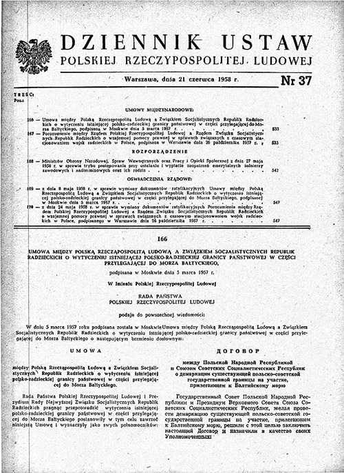 Dziennik Ustaw RP № 37 1958 послько советская граница