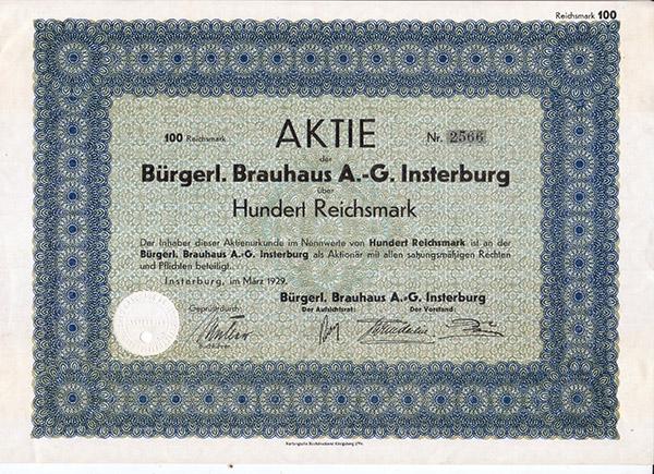 Aktie Burgerlisches Brauhaus Insterburg