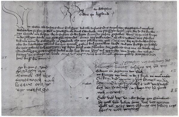 Ordensbrief 28-2-1421 nach Marienburg история почты Почтовая служба Немецкого ордена