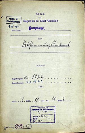 Abstimmungsdenkmal Allenstein Archiv