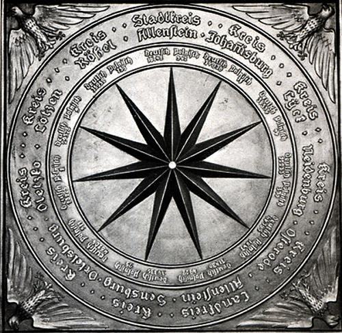 Allenstein Abstimmungsdenkmal Bronzeplatte auf dem Altarstein 1935-1936 восточнопрусский плебисцит