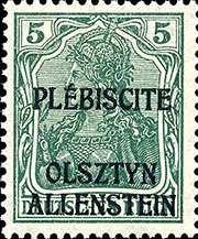 Post stamp Allenstein plebiscite 5 pf